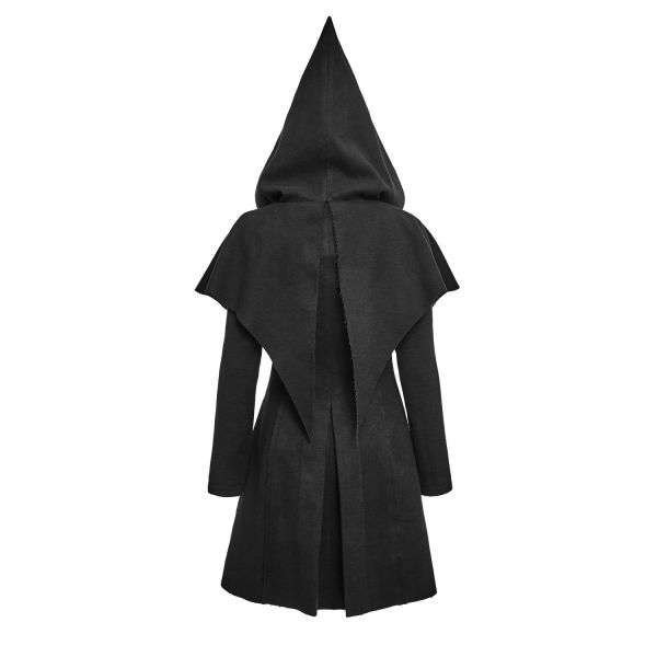 Schwarzer Pixie Coat - Mantel mit Zipfelkapuze
