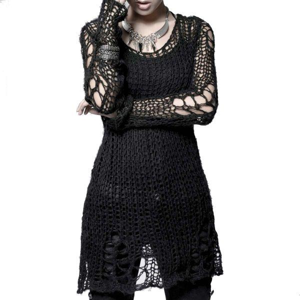 Punk Style Pullover in zerschlissenem Strick Look