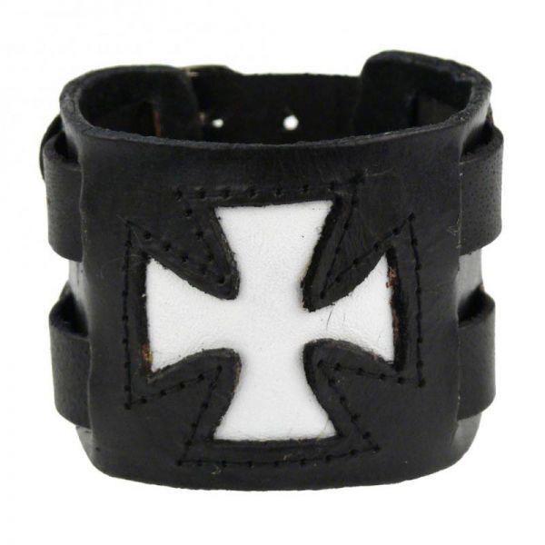 Schwarzes Kunstleder Armband mit weissem Iron Cross