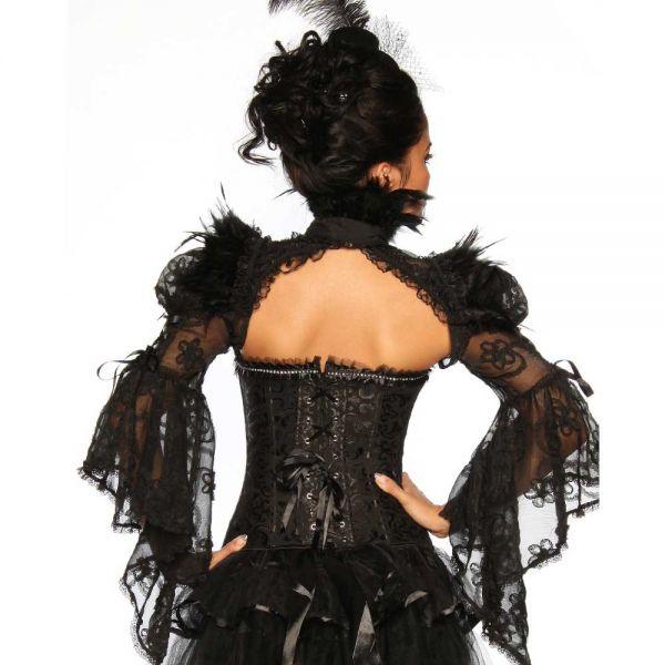Bolero im Burlesque Stil mit Federn und Spitze