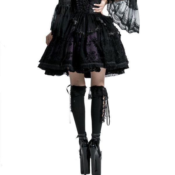 Gothic Lolita Tellerrock mit Spitze und Ornamentmuster