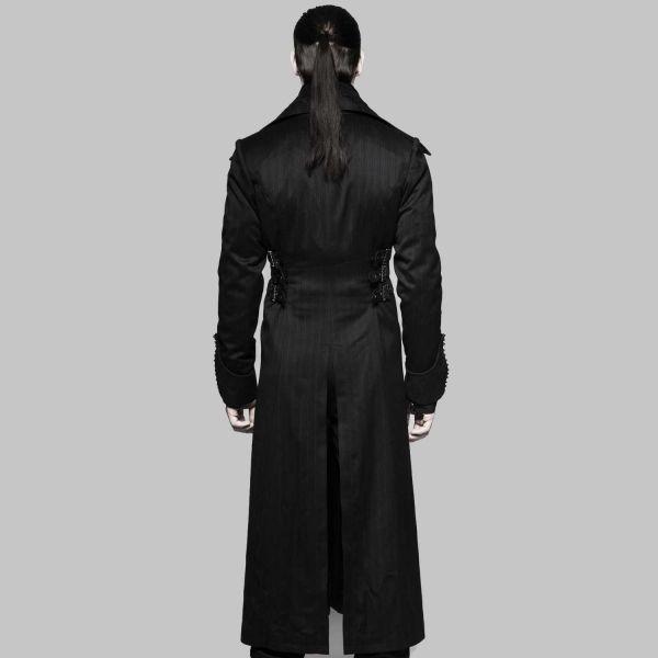 Langer Mantel mit Revers Kragen im Aristokraten Look