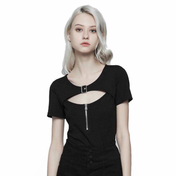 Casual T-Shirt mit Schnalle und Cut-Out