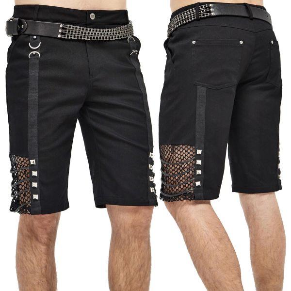 Rock & Metal Shorts mit Netz und Pyramiden-Nieten