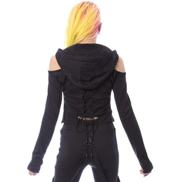Cold-Shoulder Crop Top mit Kapuze im Layering Look