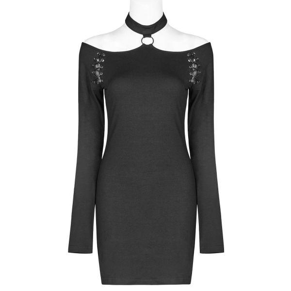 Gothic Minikleid im Off-Shoulder Look mit Halsband