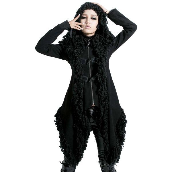 Mantel im Zipfel Fetzen Look mit Kapuze Gothic Style