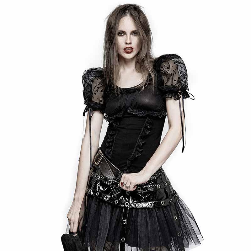 Gothic Lolita Top mit Puffärmeln und Rüschen | VOODOOMANIACS