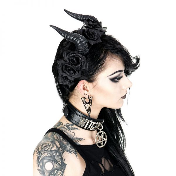 Teufelshörner Haar-Reifen mit schwarzen Rosenblüten