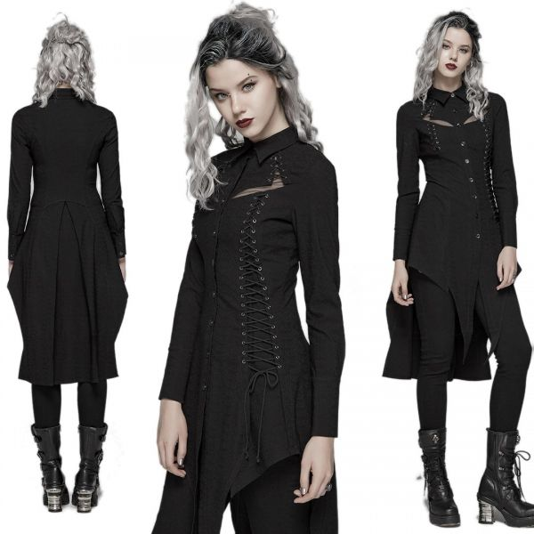 Gothic Longbluse im Witchcraft Style mit Cut-Outs