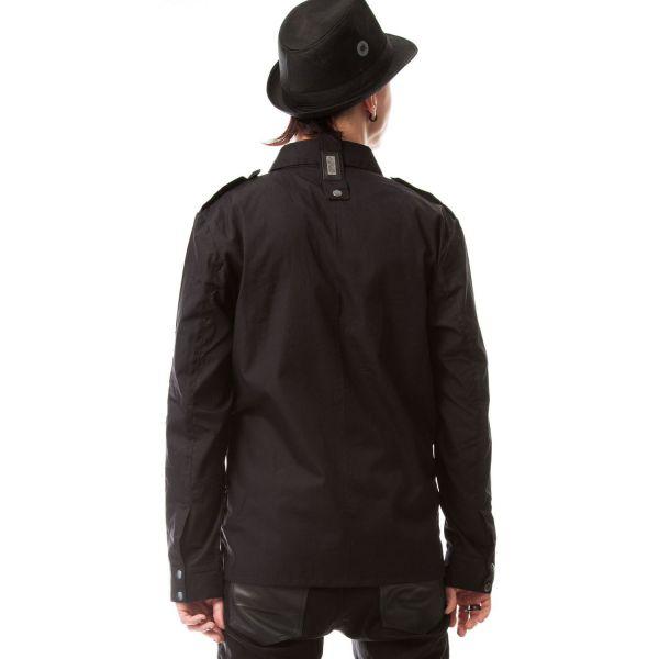 Schwarzes Hemd mit Epauletten und Nieten - Torn Shirt