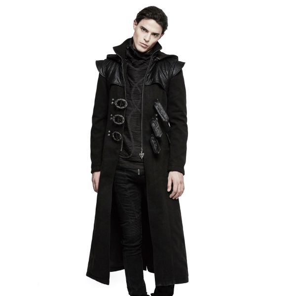 Gothic Mantel mit Zipfelkapuze im Industrial Look