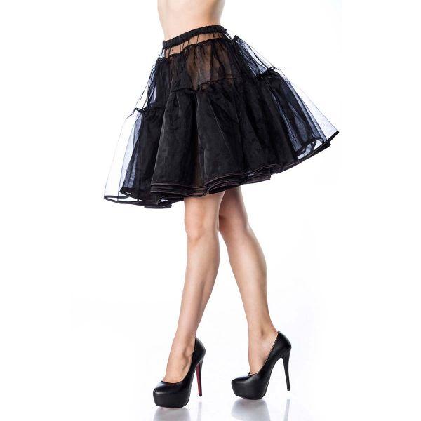 Mittellanger Petticoat aus schwarzem Tüll