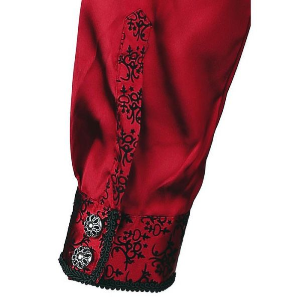 Viktorianisches rotes Satin Rüschenhemd mit Flockmuster