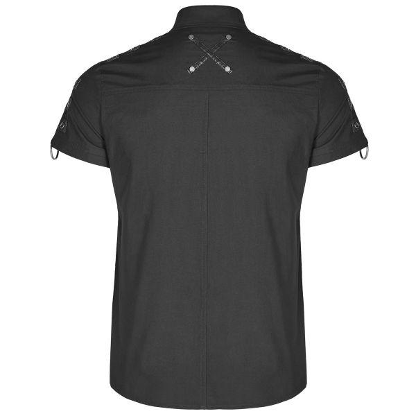 Gothic Hemd im Uniform Look mit Druckknöpfen