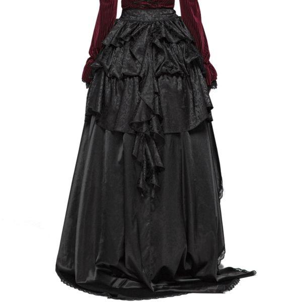 Viktorianischer Schürzenrock mit Schleppe und Volants