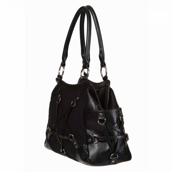 Schwarze Handtasche mit Pentagrammen und D-Ringen