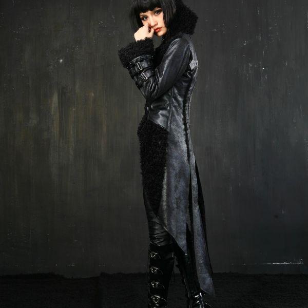 Mantel mit Kunstfell im Post Apocalyptic Style