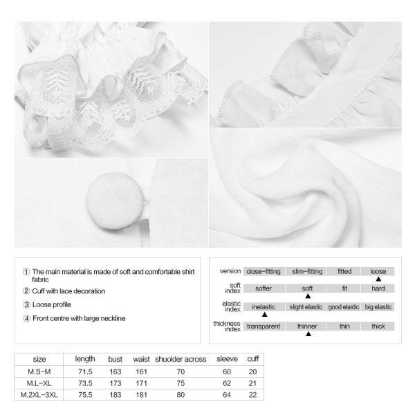 Weisses Schlupfhemd mit Bischofsärmeln und Rüschen