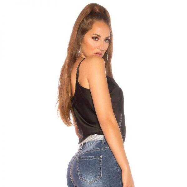 Sexy Top im Satin-Look mit Tattoo Spitze