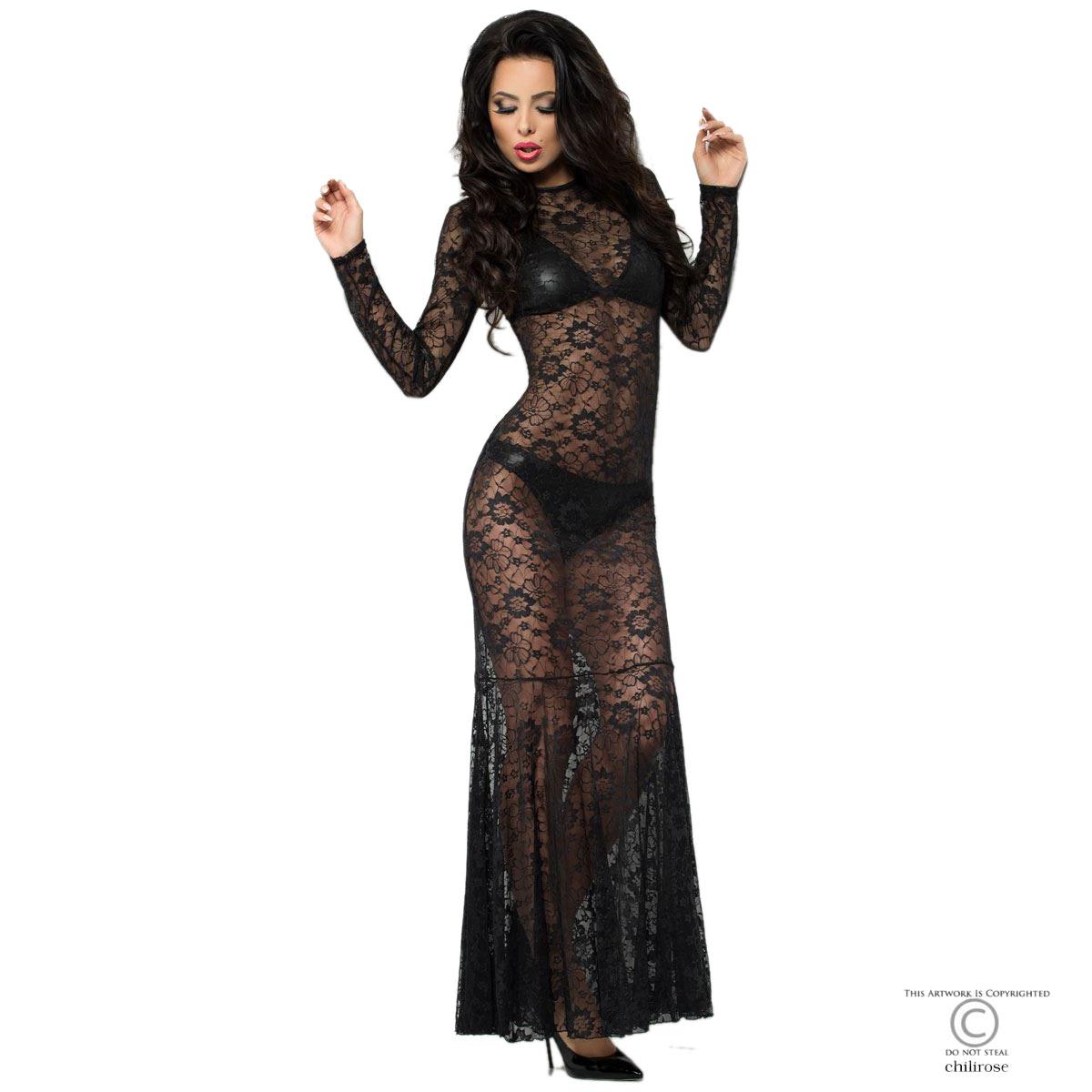 Durchsichtiges Kleid aus Spitze mit BH und Panty