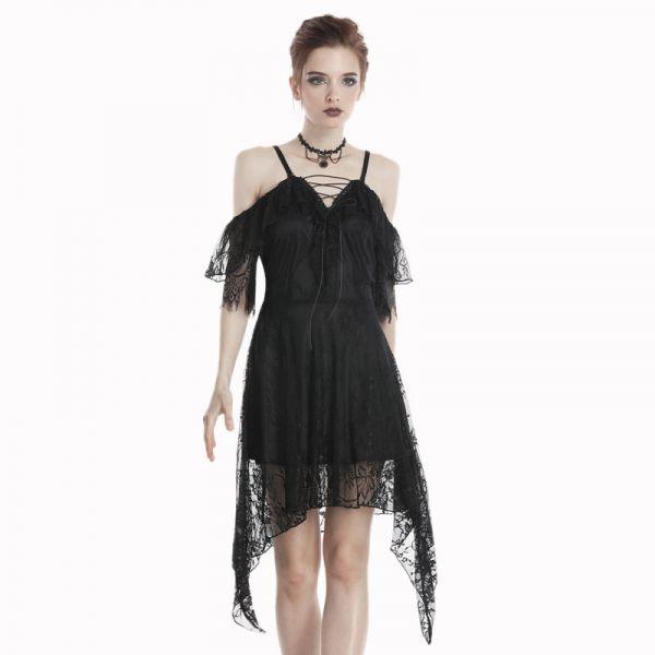 Cold-Shoulder Tunica Kleid mit Spitze und Volants