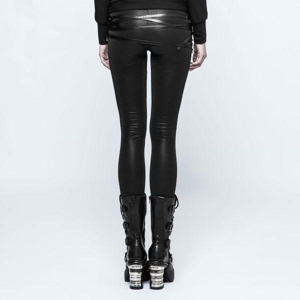 Lederlook Gothic Leggings mit Riemen im Bondage Look