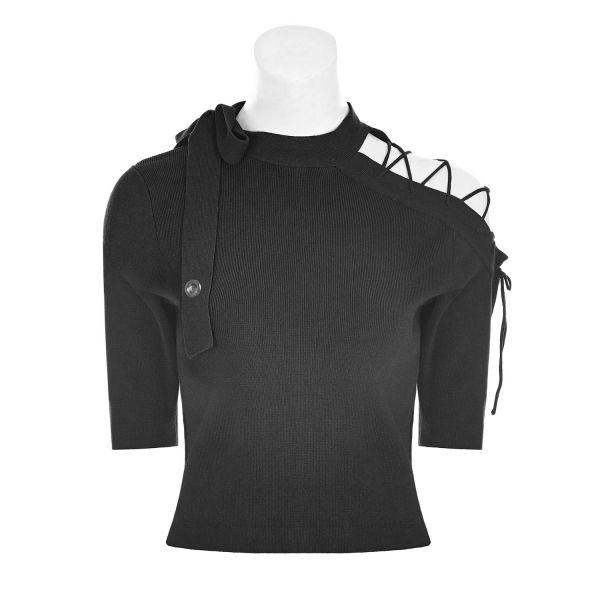 Cold Shoulder Feinstrick Shirt mit Schnürung