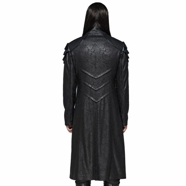 Industrial Goth Mantel in Lederoptik mit Stehkragen