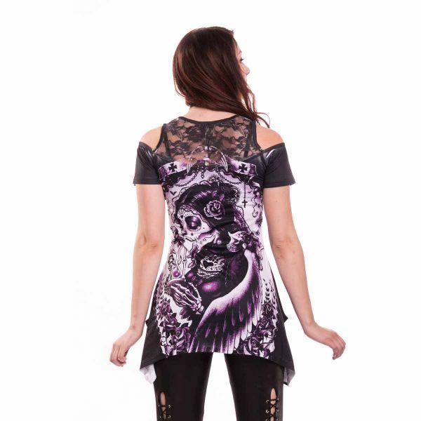 Asymmetrisches Top mit Schulterlöchern - Sugar Skull Girl