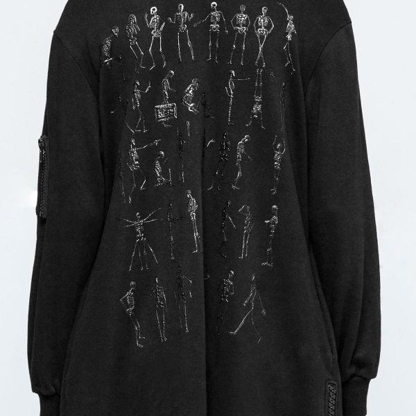 Oversize Punk Kapuzen Shirtkleid mit Skeletten