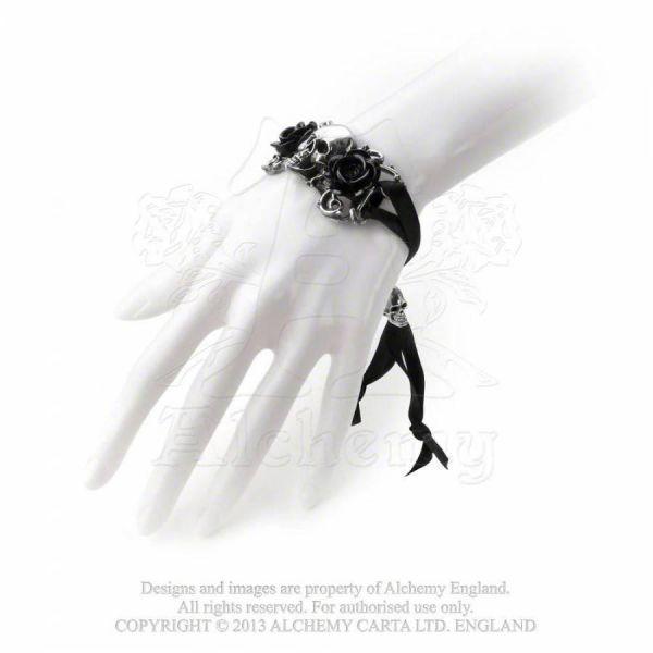 Armband mit Rosen und Skulls - Skull & Briar Rose