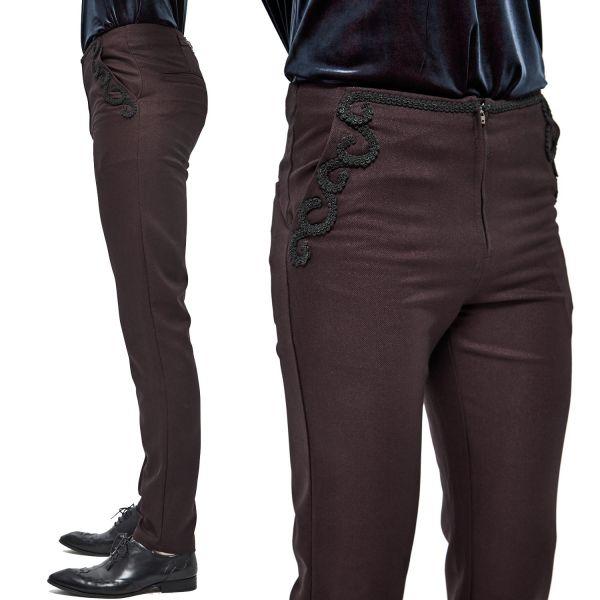 Dunkelrote elegante Hose in viktorianischem Look