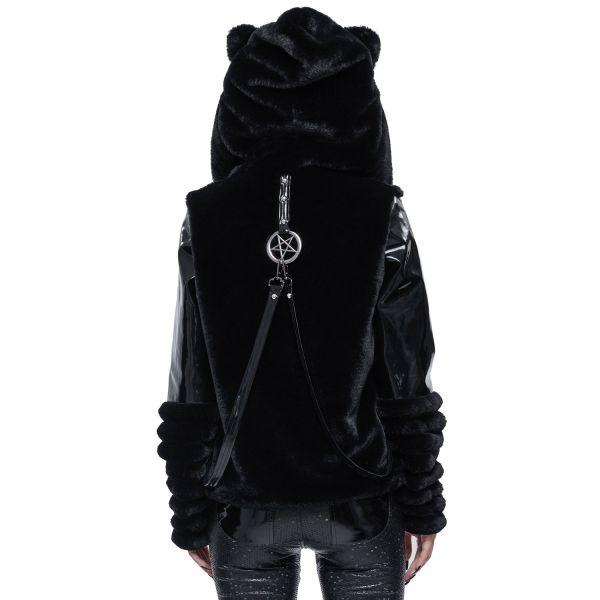 Industrial Punk Jacke in Felloptik mit Lack und Kapuze