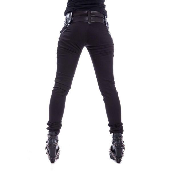 Hose im Gothic Style mit Lederimitat und Schnürungen