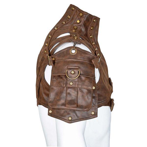 Steampunk Lederimitat Harness mit Tasche und Stehkragen