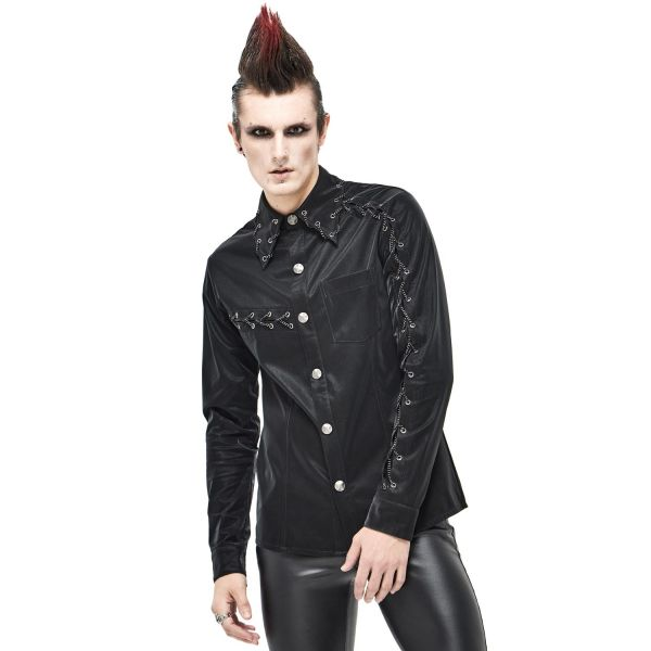 Rock & Metal Hemd in Lederoptik mit Kettenschnürung