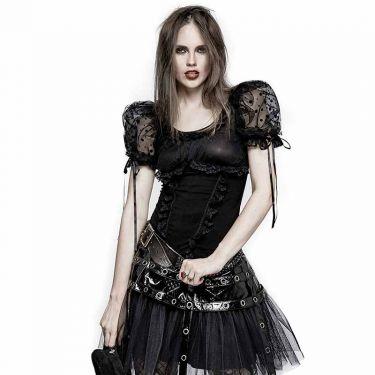 Beinstulpen schwarz Baumwolle mit Tüll Lolita Look