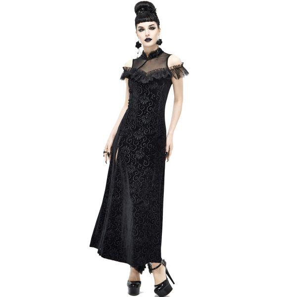 Cold-Shoulder Samt Kleid mit Schlitz und Paisley Muster