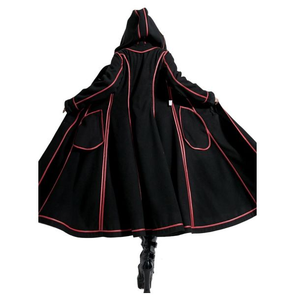 Gothic Lolita Wendemantel mit rotem Kunstfell und Kapuze