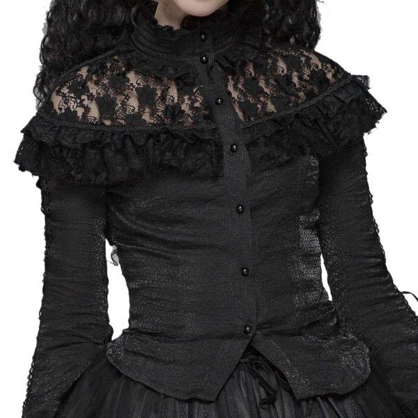 Dark Romantic Bluse mit Spitze und Rüschenvolant