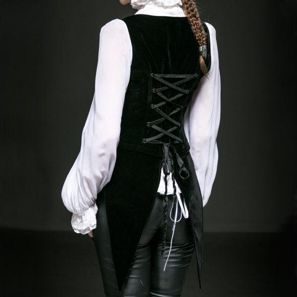 Schwarze Samt Frack Weste in viktorianischem Look