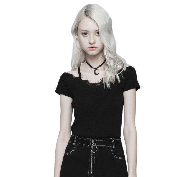 Dark Romantic Shirt mit Spitze und feinen Trägern