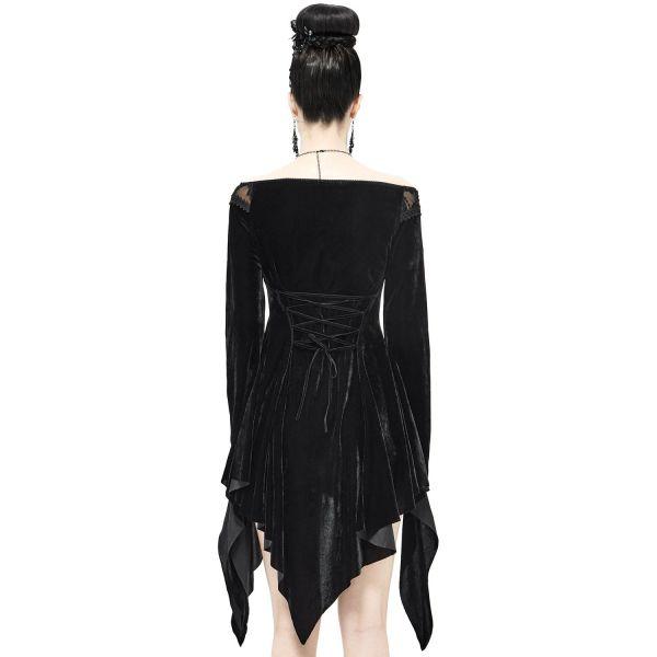 Off-Shoulder Witchcraft Zipfelkleid und Longtop aus Samt