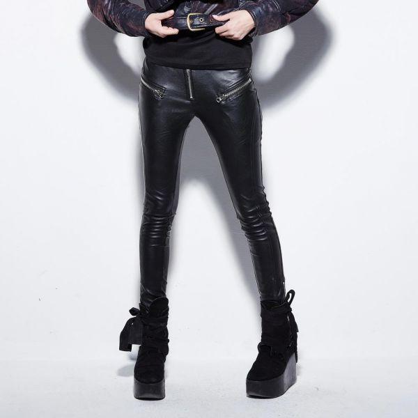 Skinny Hose in Lederoptik mit Zippern