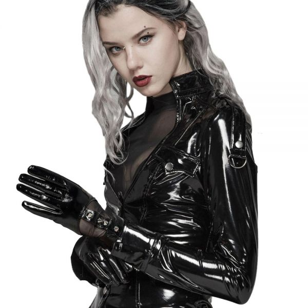 Fetisch Handschuhe im Leder-Look mit Netz und Nieten