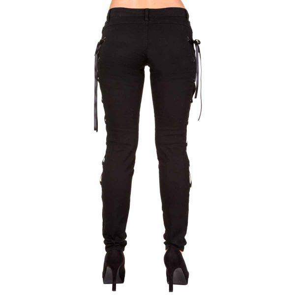 Schwarze Skinny Hose mit Seitenschnürungen