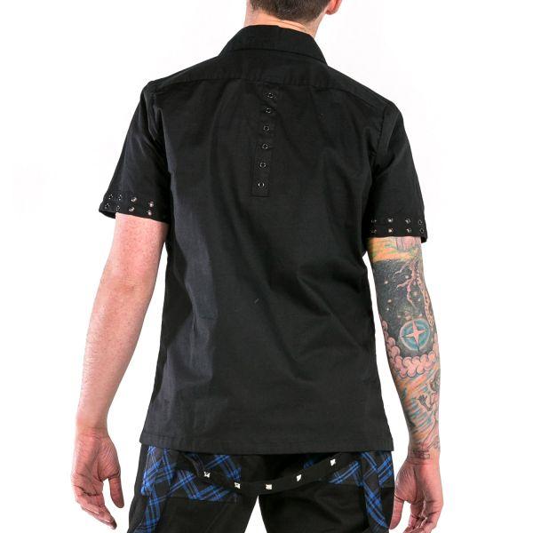 Kurzarm Hemd mit schwarzen Nieten