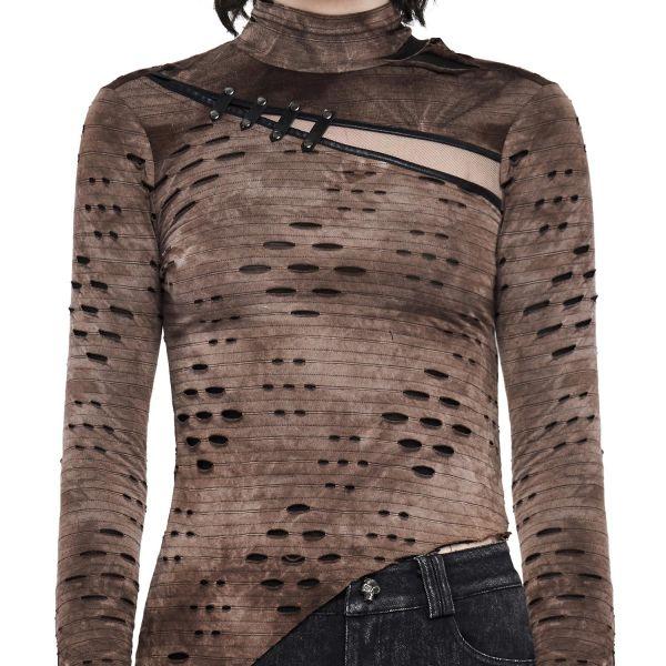 Asymmetrisches Steampunk Shirt im Fetzen Look mit Netz