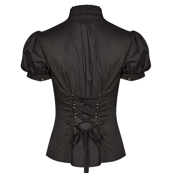 Dark Romantic Bluse mit Spitze und Stehkragen